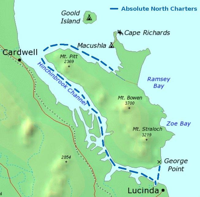 Hinchinbrook Island Ferry route